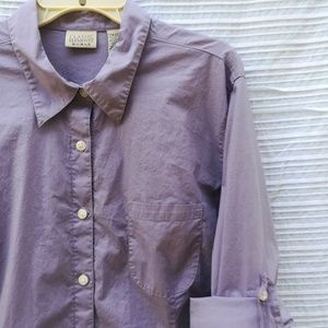 Lavender Roll-tab Sleeve Button Down 22w